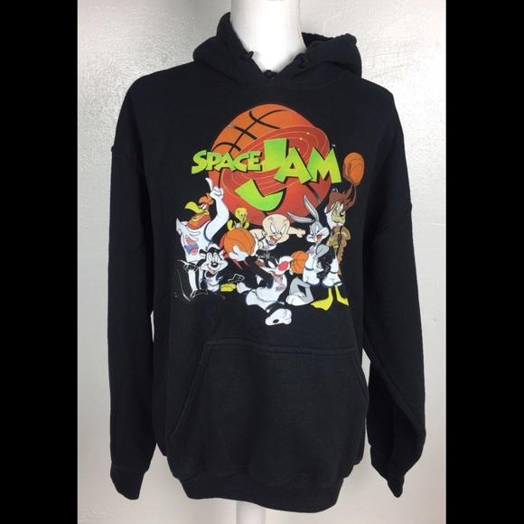 Looney Tunes Space Jam Logo Mens Black Hoodie
